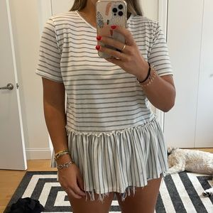 White and gray striped T-shirt
